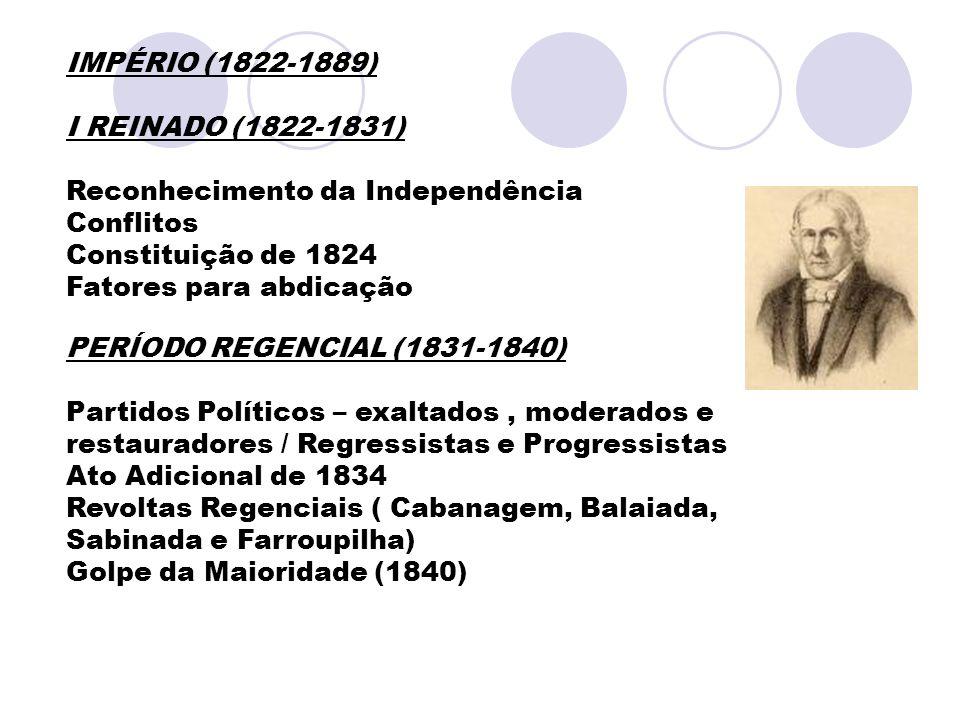 IMPÉRIO (1822-1889) I REINADO (1822-1831) Reconhecimento da Independência. Conflitos. Constituição de 1824.