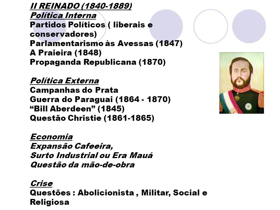 II REINADO (1840-1889) Política Interna. Partidos Políticos ( liberais e conservadores) Parlamentarismo às Avessas (1847)
