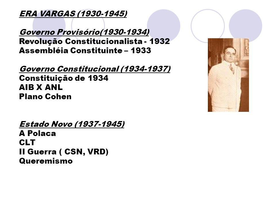 ERA VARGAS (1930-1945) Governo Provisório(1930-1934) Revolução Constitucionalista - 1932. Assembléia Constituinte – 1933.