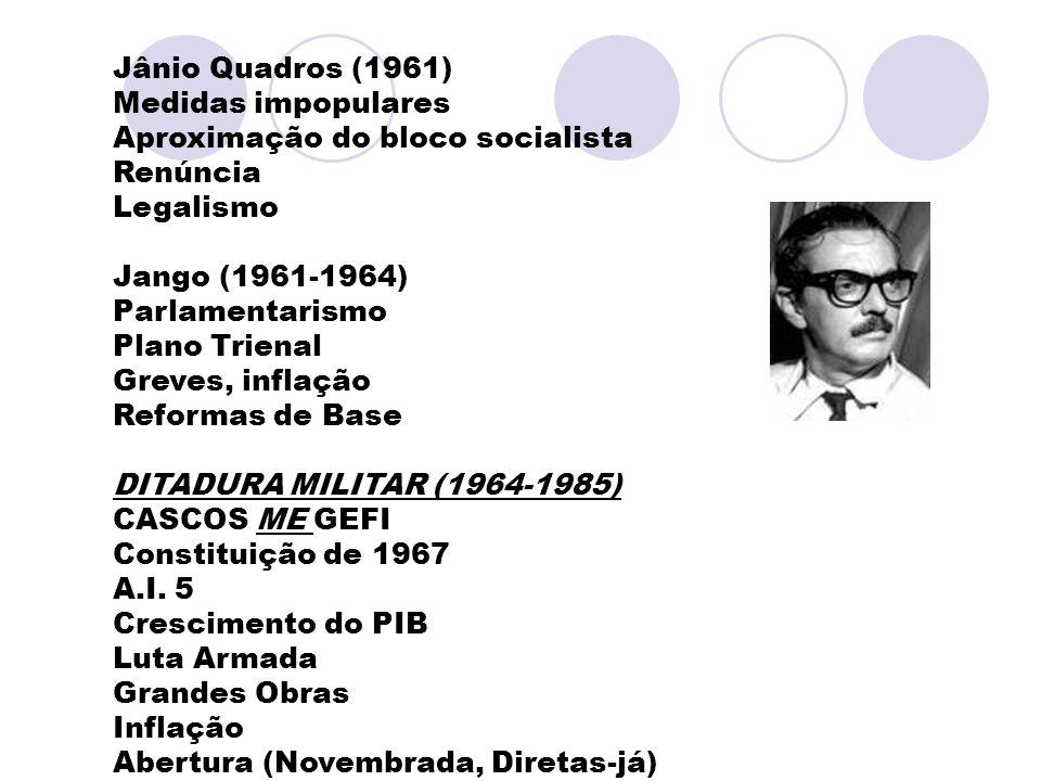 Jânio Quadros (1961) Medidas impopulares. Aproximação do bloco socialista. Renúncia. Legalismo. Jango (1961-1964)