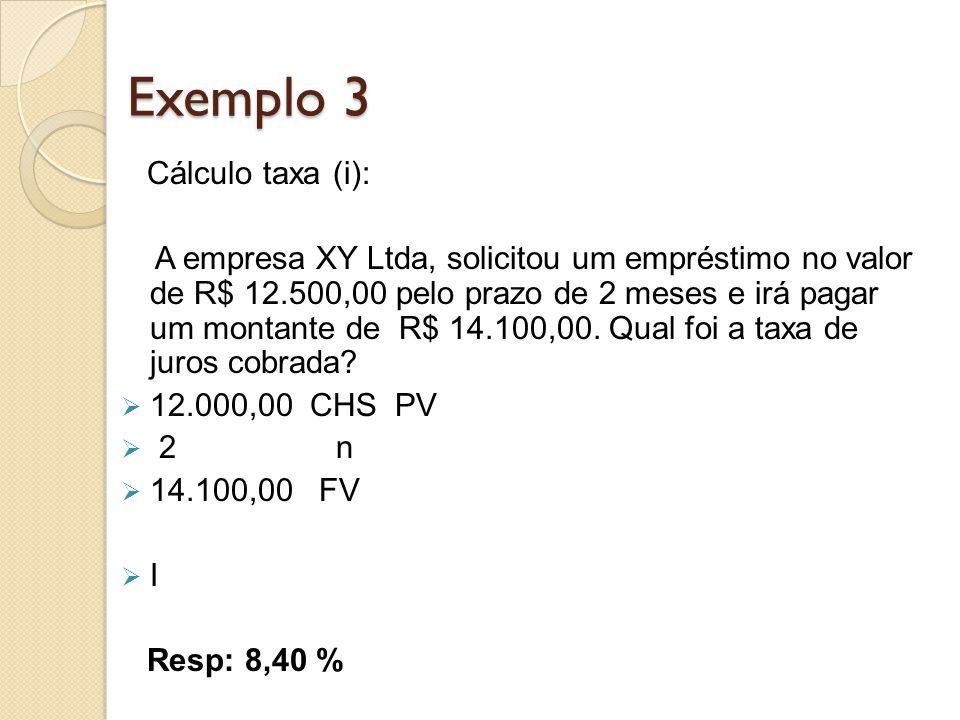 Exemplo 3 Cálculo taxa (i):