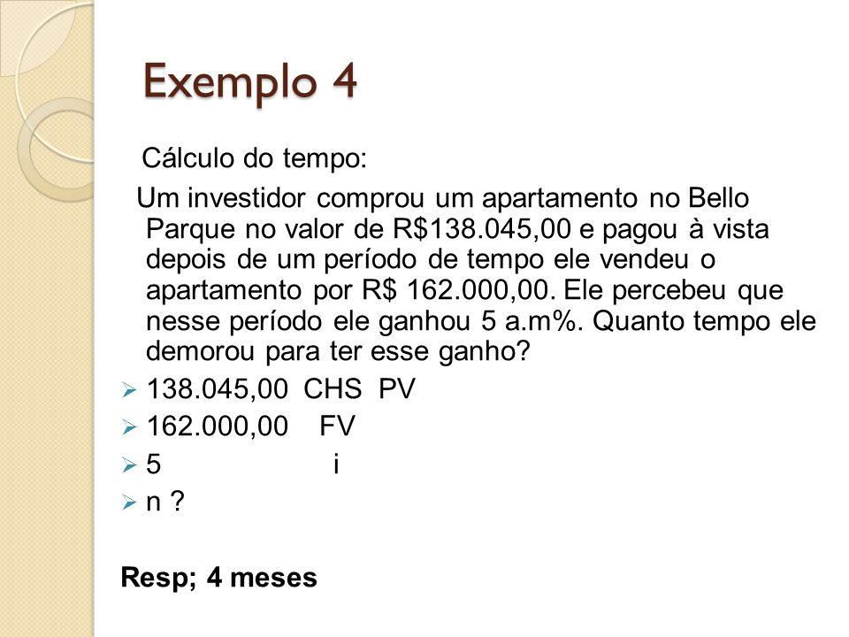 Exemplo 4 Cálculo do tempo: