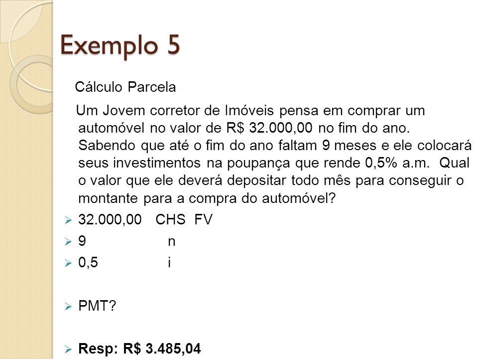Exemplo 5 Cálculo Parcela