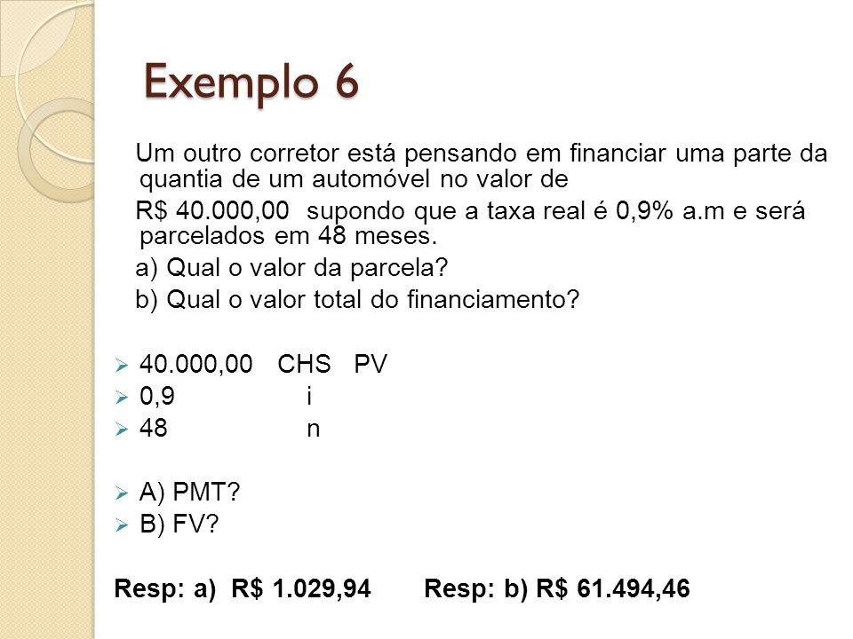 Exemplo 6 Um outro corretor está pensando em financiar uma parte da quantia de um automóvel no valor de.