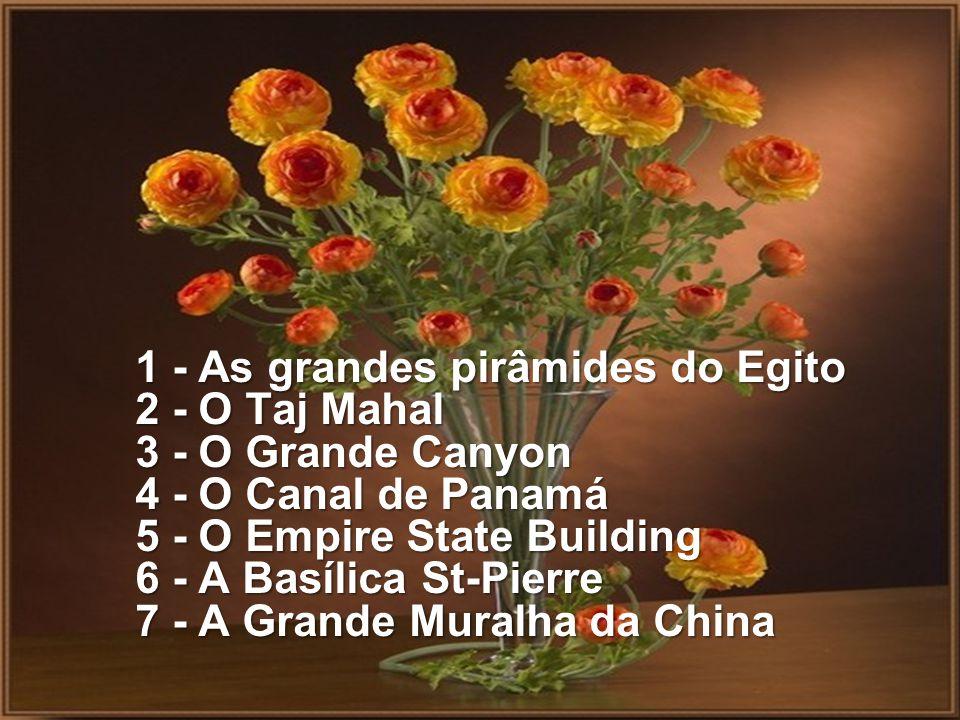 1 - As grandes pirâmides do Egito 2 - O Taj Mahal 3 - O Grande Canyon 4 - O Canal de Panamá 5 - O Empire State Building 6 - A Basílica St-Pierre 7 - A Grande Muralha da China