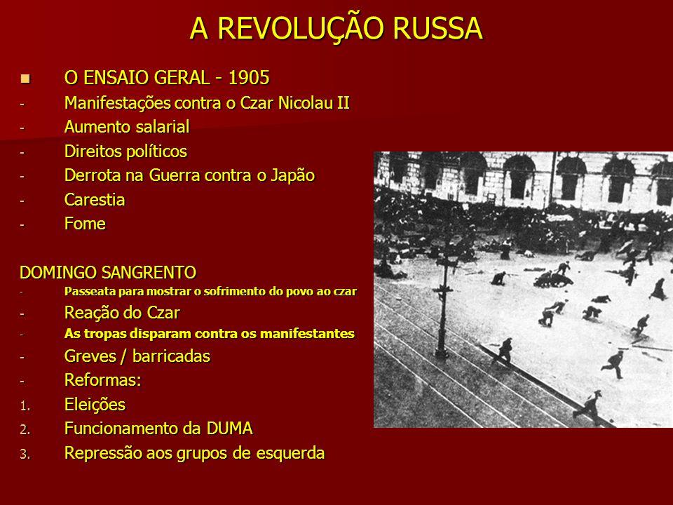 A REVOLUÇÃO RUSSA O ENSAIO GERAL - 1905