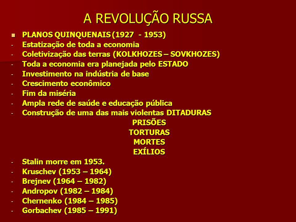 A REVOLUÇÃO RUSSA PLANOS QUINQUENAIS (1927 - 1953)