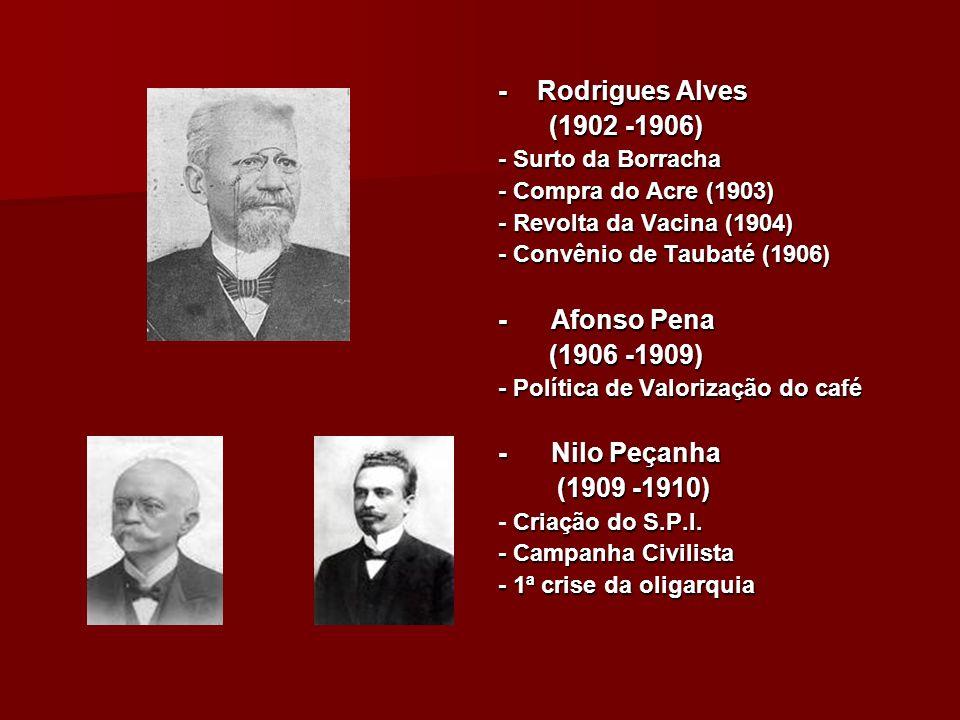 - Rodrigues Alves (1902 -1906) - Afonso Pena (1906 -1909)