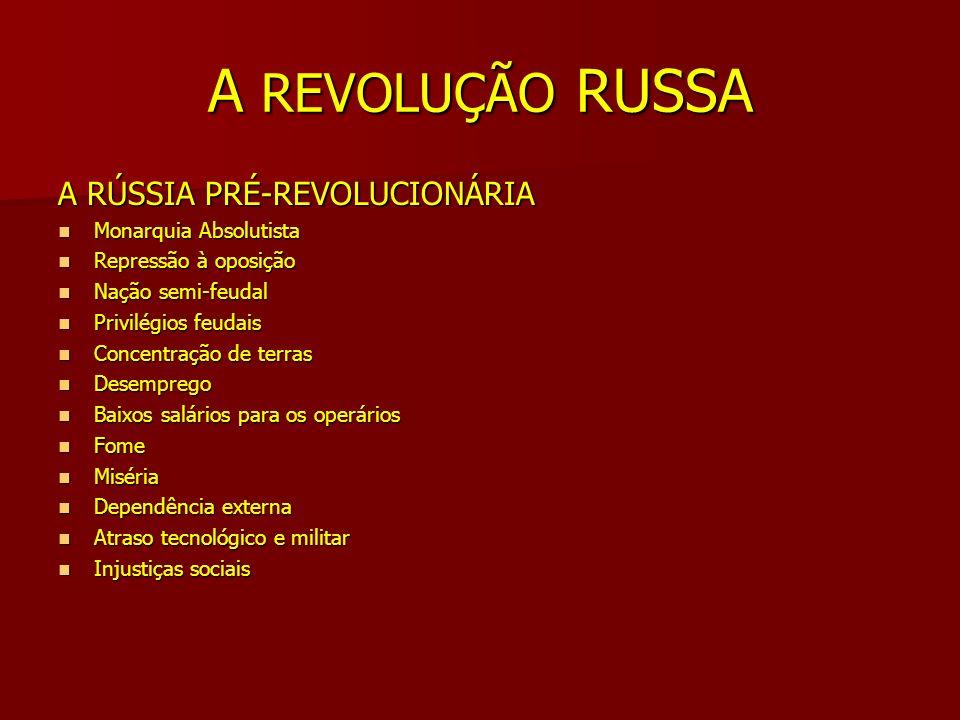 A REVOLUÇÃO RUSSA A RÚSSIA PRÉ-REVOLUCIONÁRIA Monarquia Absolutista