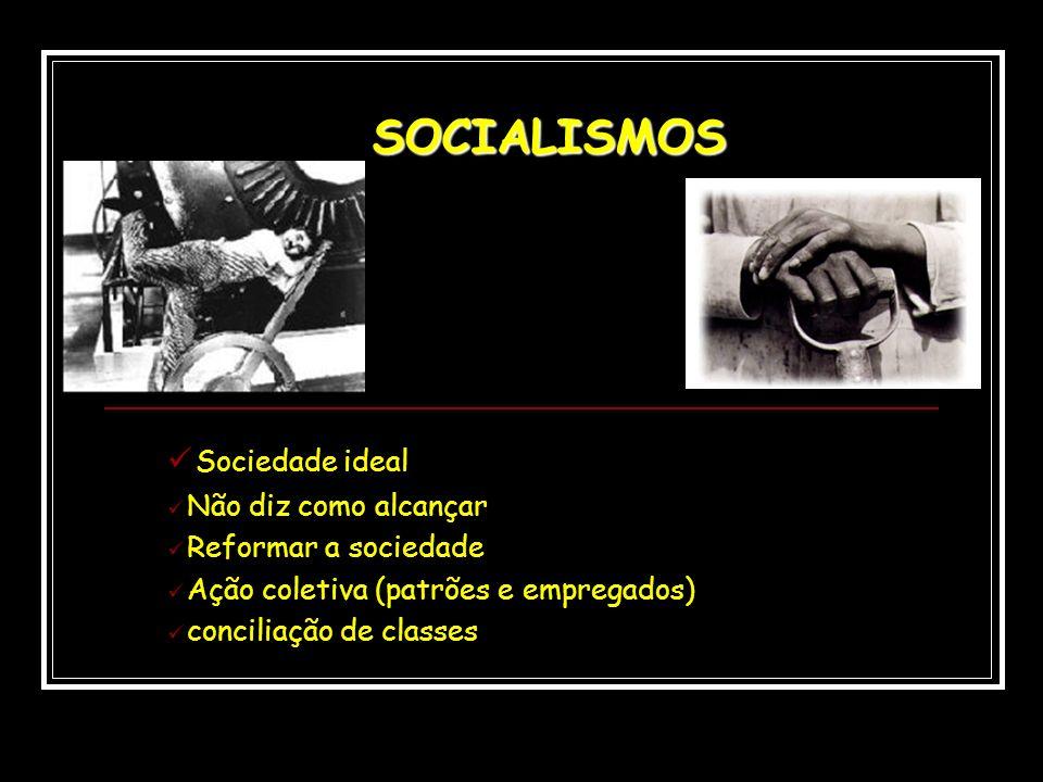 SOCIALISMOS Sociedade ideal Não diz como alcançar Reformar a sociedade