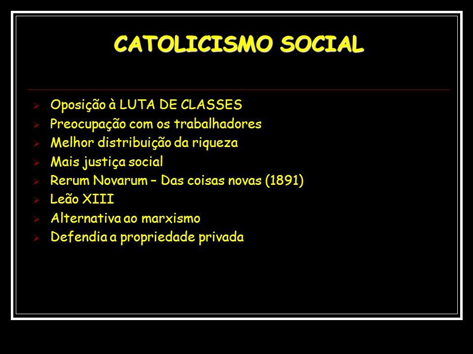 CATOLICISMO SOCIAL Oposição à LUTA DE CLASSES