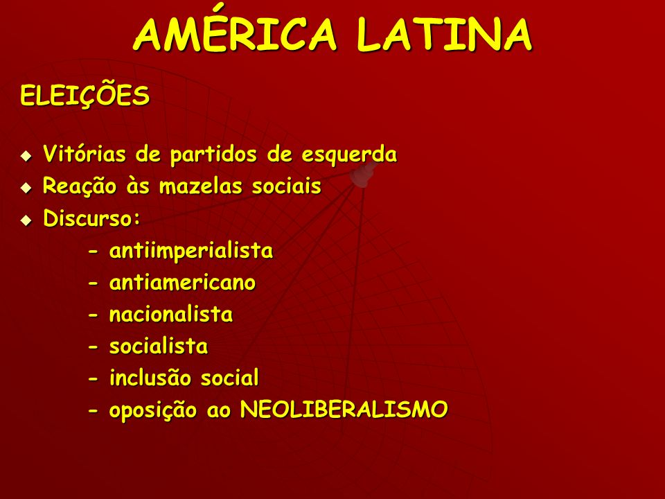 AMÉRICA LATINA ELEIÇÕES Vitórias de partidos de esquerda