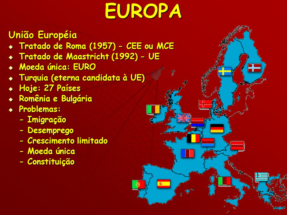 EUROPA União Européia Tratado de Roma (1957) - CEE ou MCE