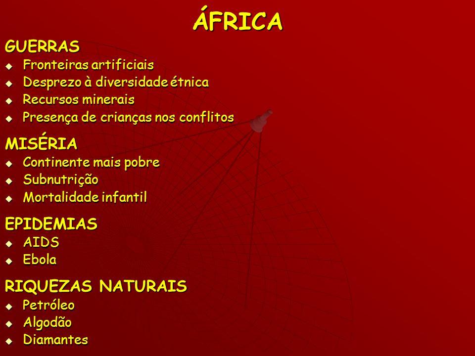 ÁFRICA GUERRAS MISÉRIA EPIDEMIAS RIQUEZAS NATURAIS