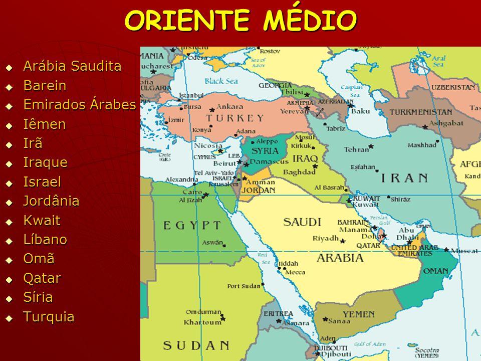 ORIENTE MÉDIO Arábia Saudita Barein Emirados Árabes Iêmen Irã Iraque