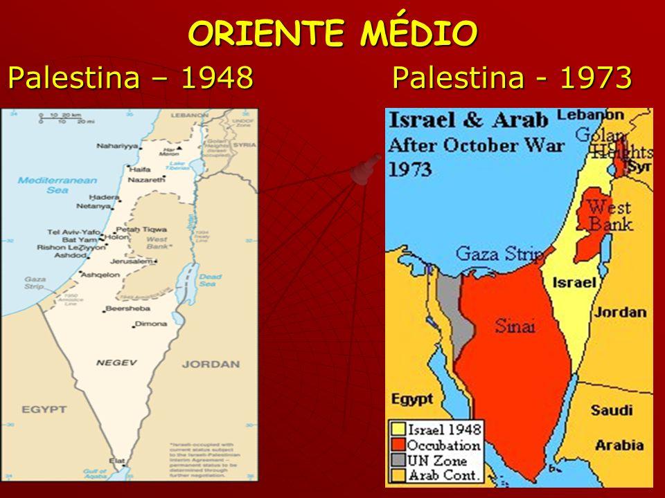 ORIENTE MÉDIO Palestina – 1948 Palestina - 1973