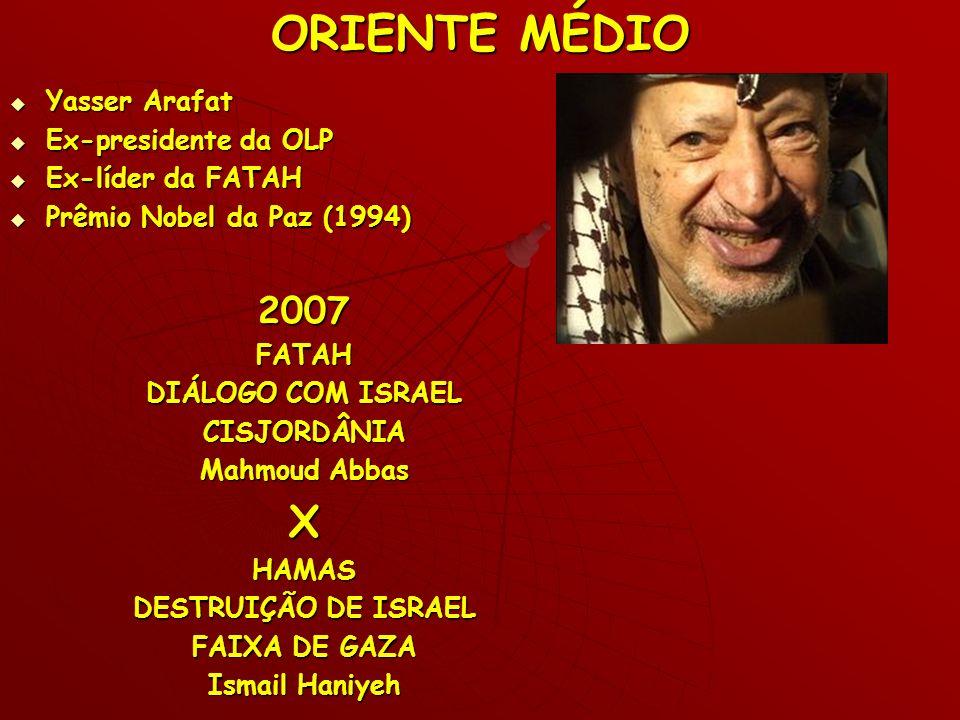 ORIENTE MÉDIO X 2007 Yasser Arafat Ex-presidente da OLP