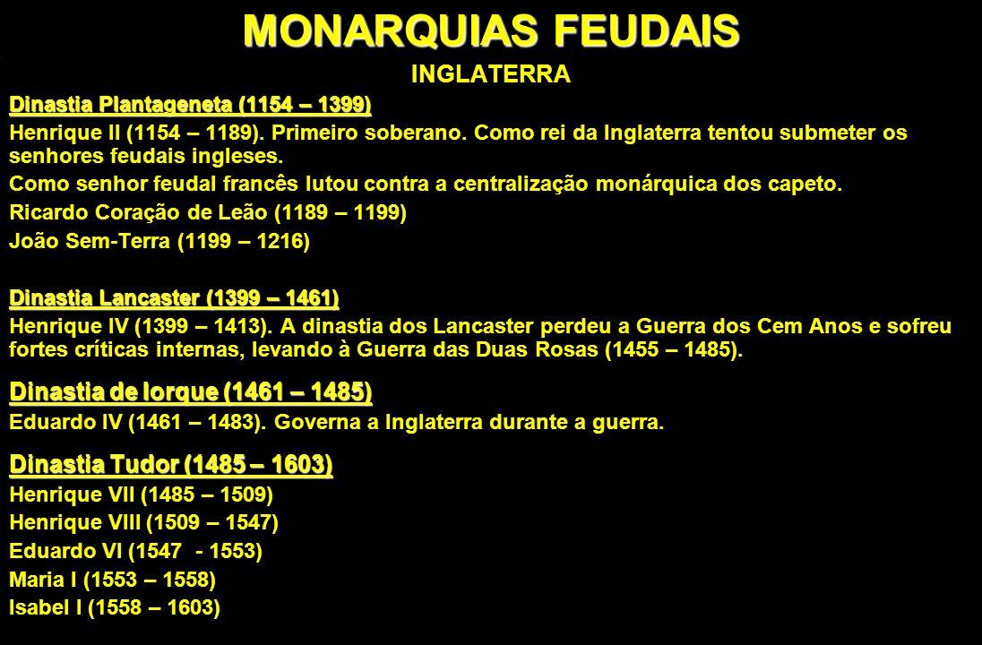 MONARQUIAS FEUDAIS INGLATERRA Dinastia de Iorque (1461 – 1485)