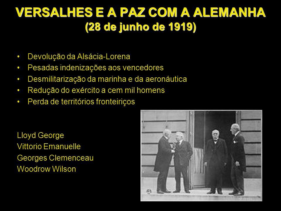 VERSALHES E A PAZ COM A ALEMANHA (28 de junho de 1919)