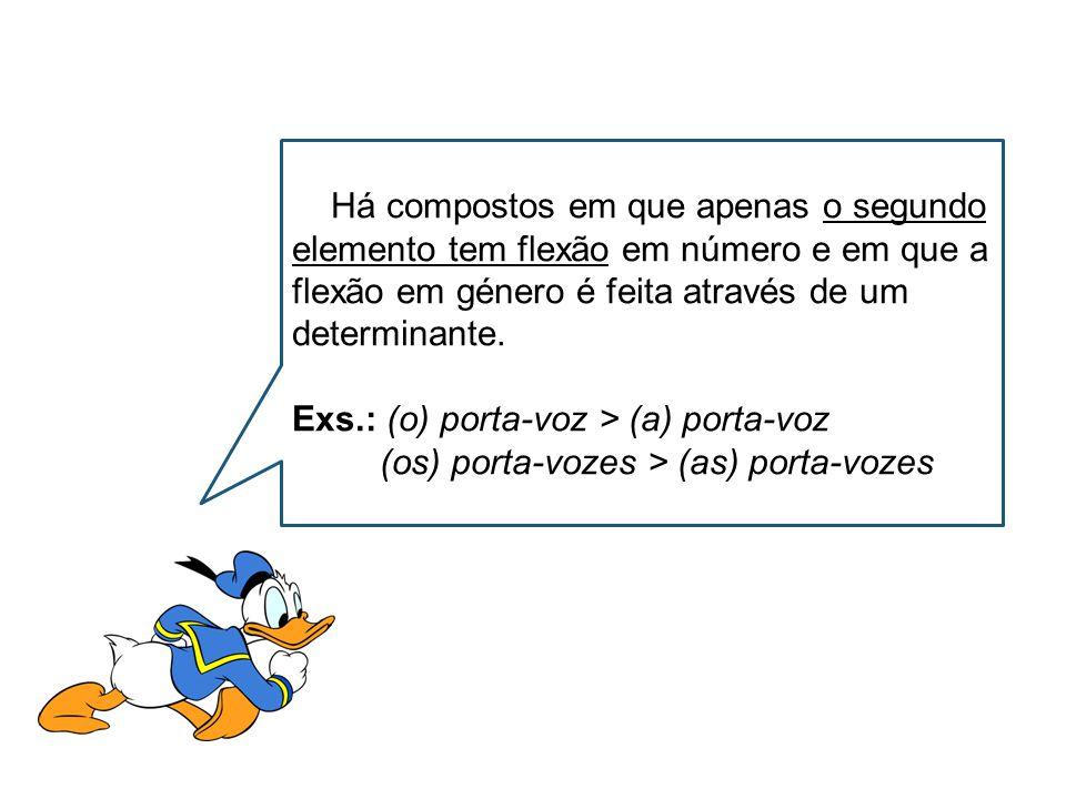Há compostos em que apenas o segundo elemento tem flexão em número e em que a flexão em género é feita através de um determinante.