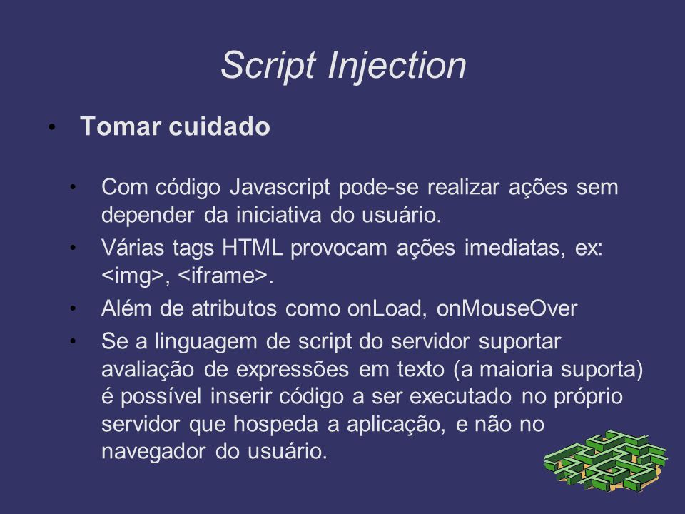 Script Injection Tomar cuidado