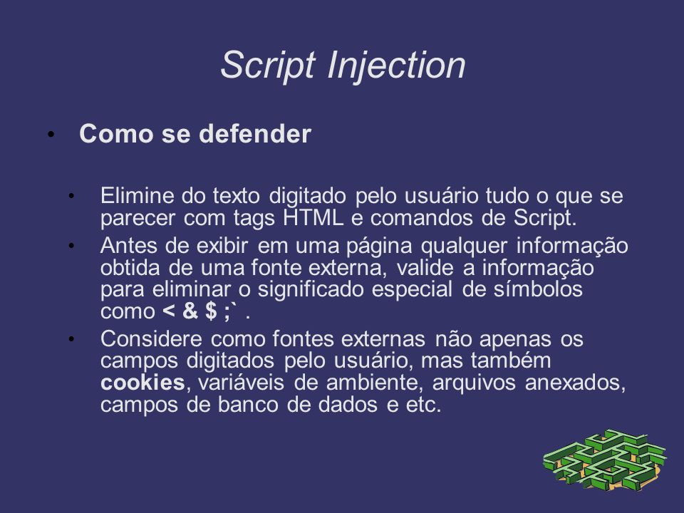 Script Injection Como se defender