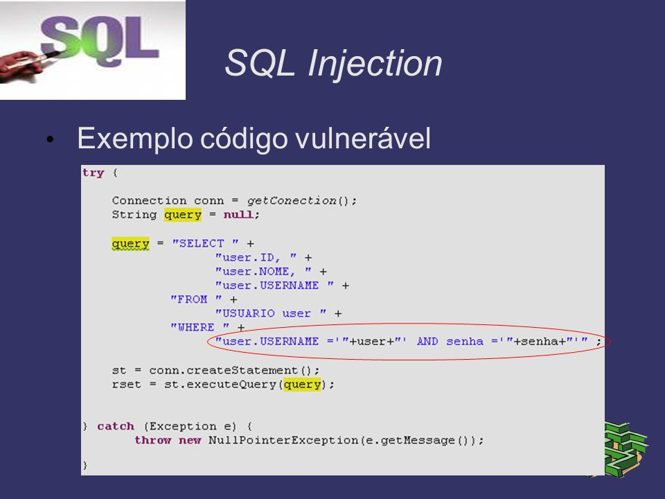 SQL Injection Exemplo código vulnerável