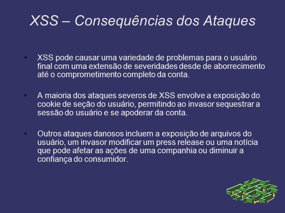 XSS – Consequências dos Ataques