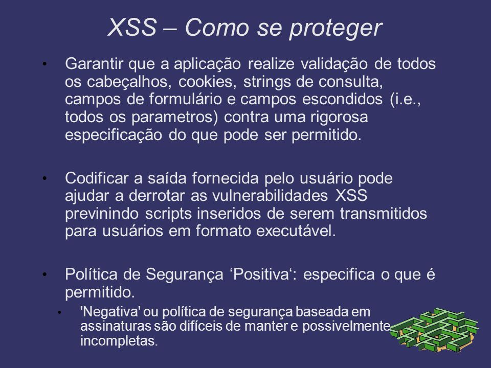 XSS – Como se proteger