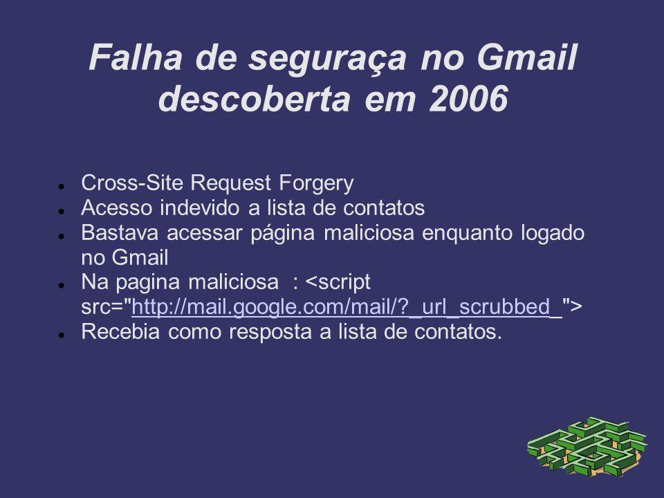 Falha de seguraça no Gmail descoberta em 2006