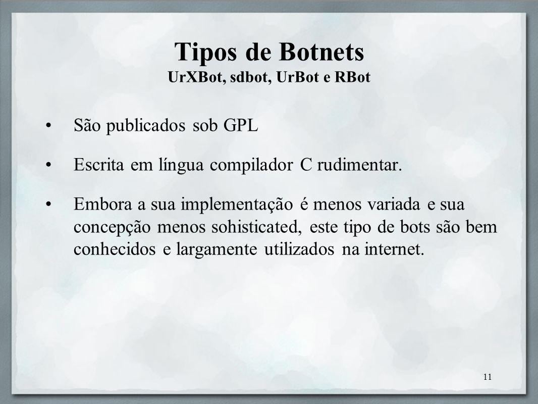 Tipos de Botnets UrXBot, sdbot, UrBot e RBot