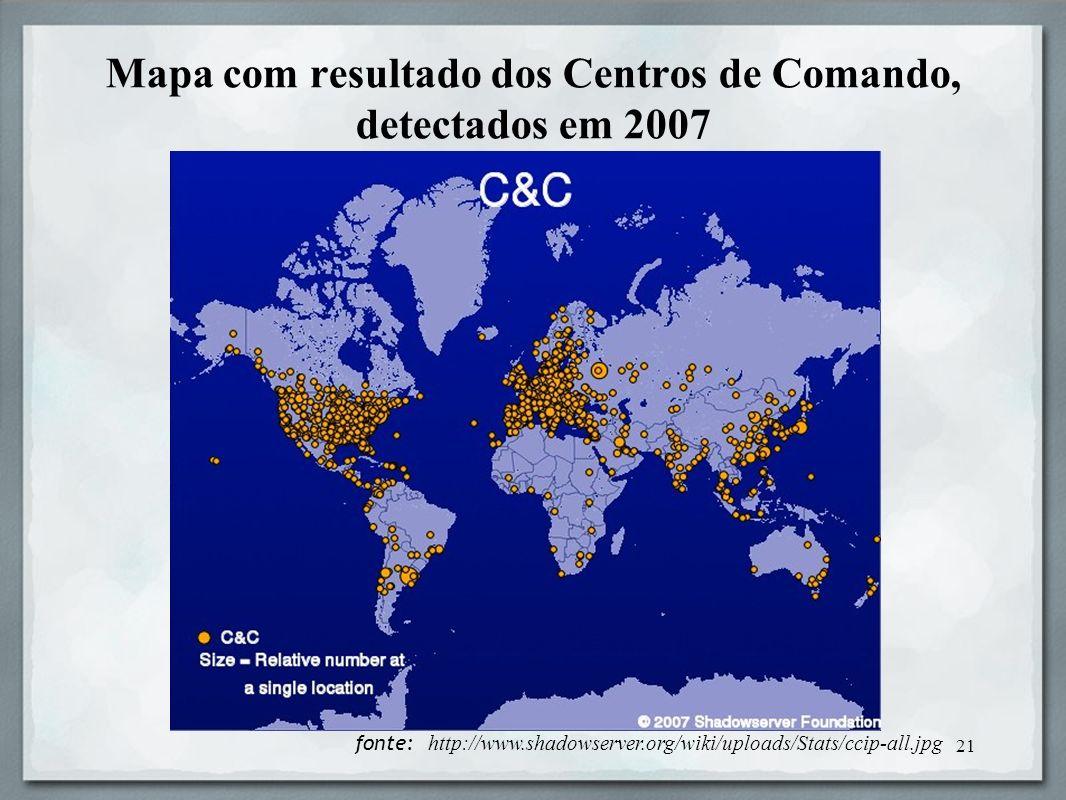 Mapa com resultado dos Centros de Comando, detectados em 2007