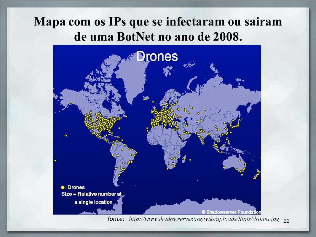Mapa com os IPs que se infectaram ou sairam de uma BotNet no ano de 2008.