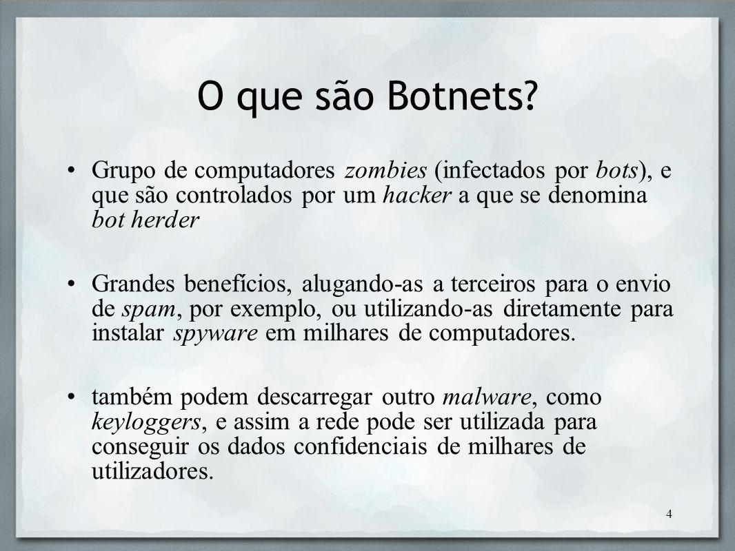 O que são Botnets Grupo de computadores zombies (infectados por bots), e que são controlados por um hacker a que se denomina bot herder.