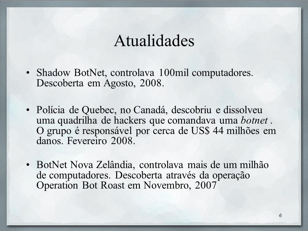 AtualidadesShadow BotNet, controlava 100mil computadores. Descoberta em Agosto, 2008.