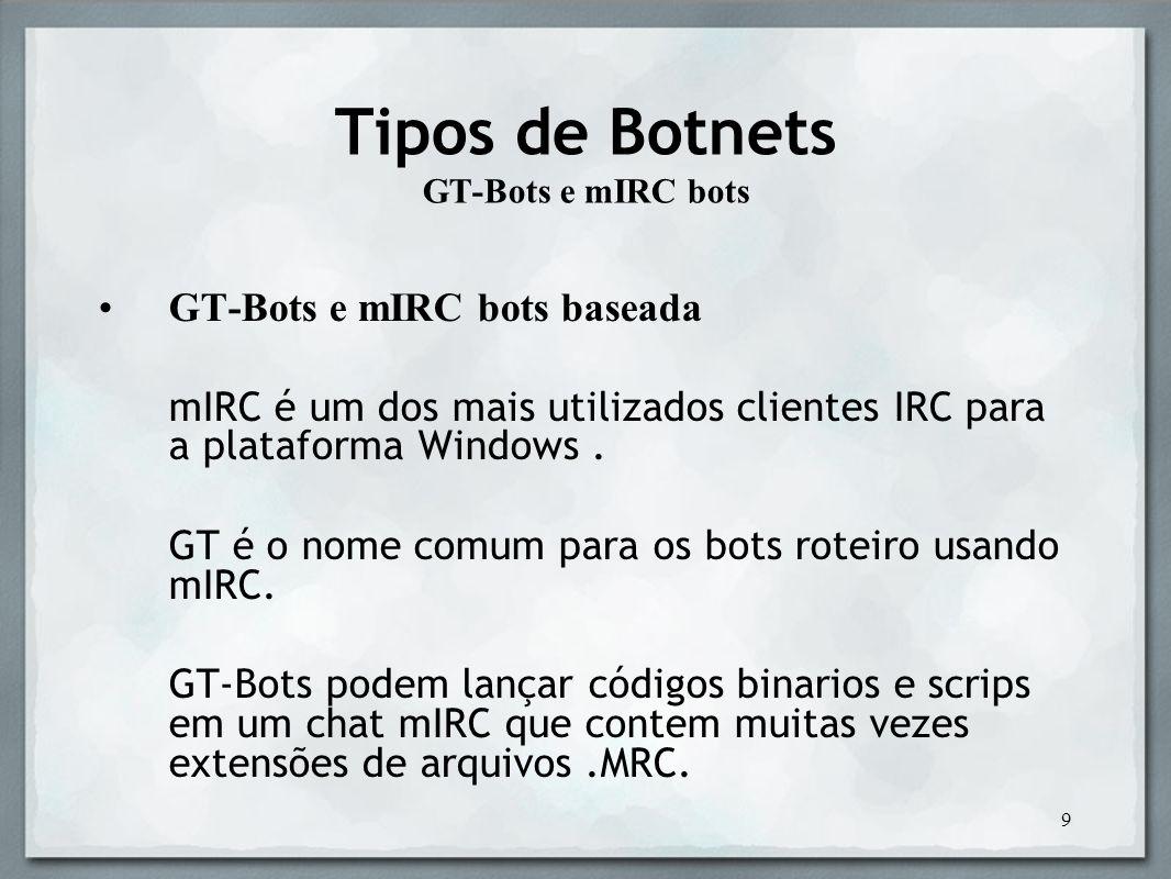 Tipos de Botnets GT-Bots e mIRC bots