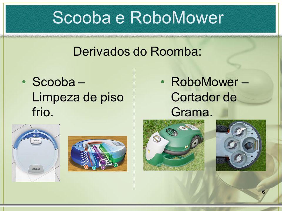 Scooba e RoboMower Derivados do Roomba: Scooba – Limpeza de piso frio.