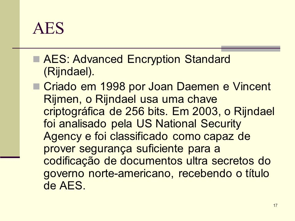 AES AES: Advanced Encryption Standard (Rijndael).