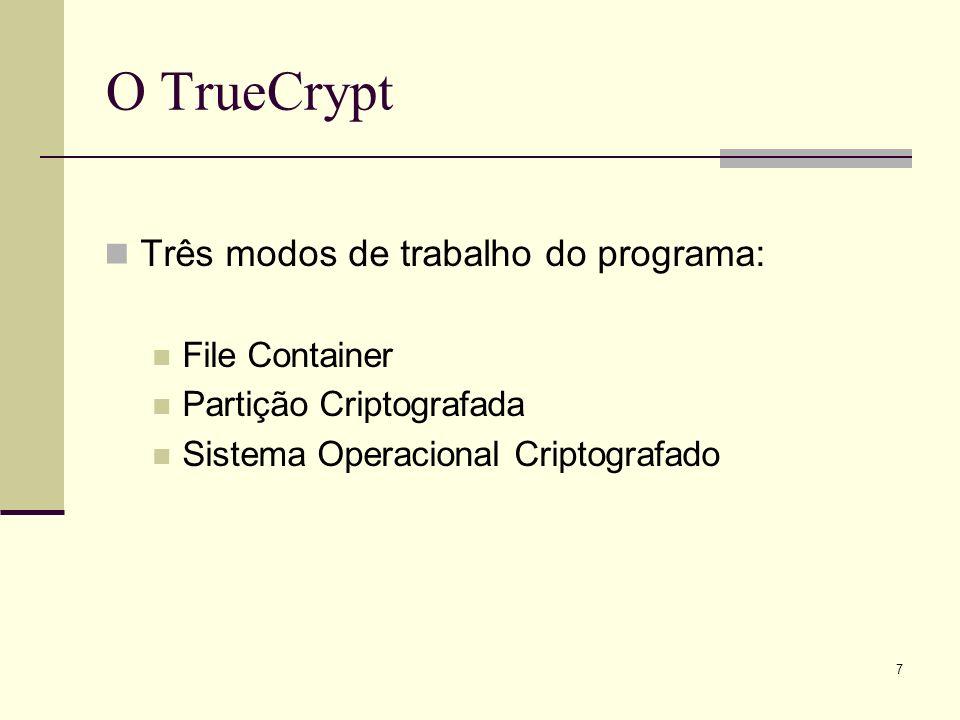 O TrueCrypt Três modos de trabalho do programa: File Container