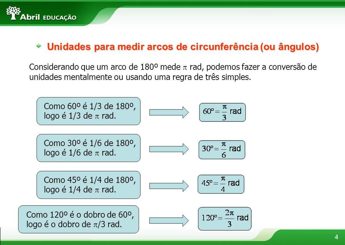 Unidades para medir arcos de circunferência (ou ângulos)