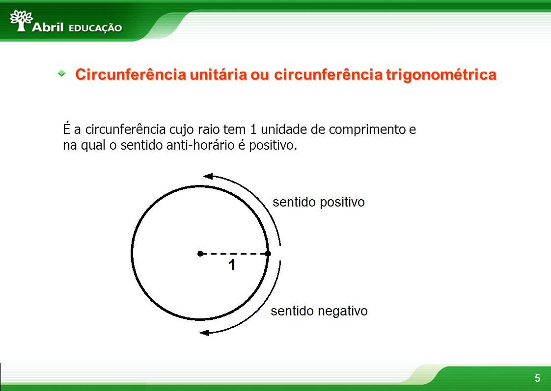 Circunferência unitária ou circunferência trigonométrica