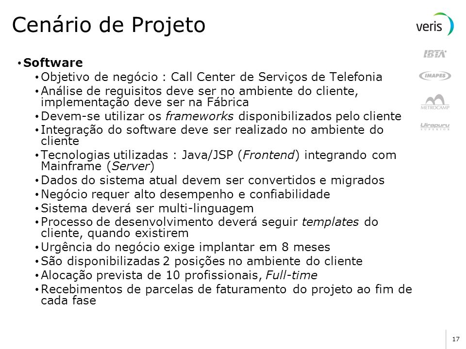 Cenário de Projeto Software