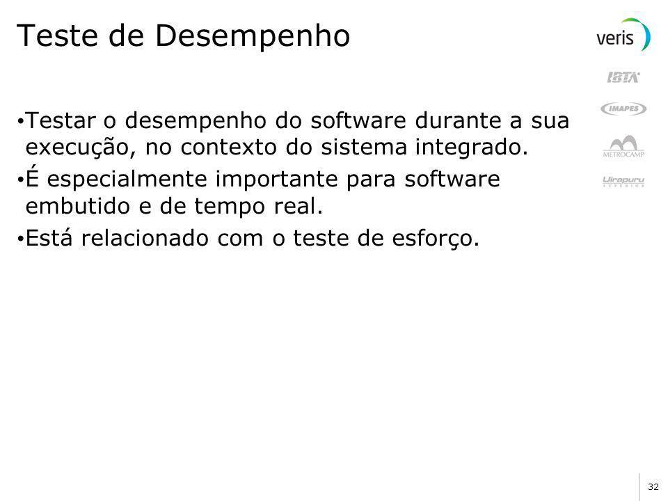 Teste de Desempenho Testar o desempenho do software durante a sua execução, no contexto do sistema integrado.