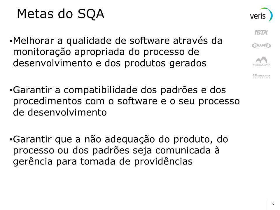 Metas do SQA Melhorar a qualidade de software através da monitoração apropriada do processo de desenvolvimento e dos produtos gerados.