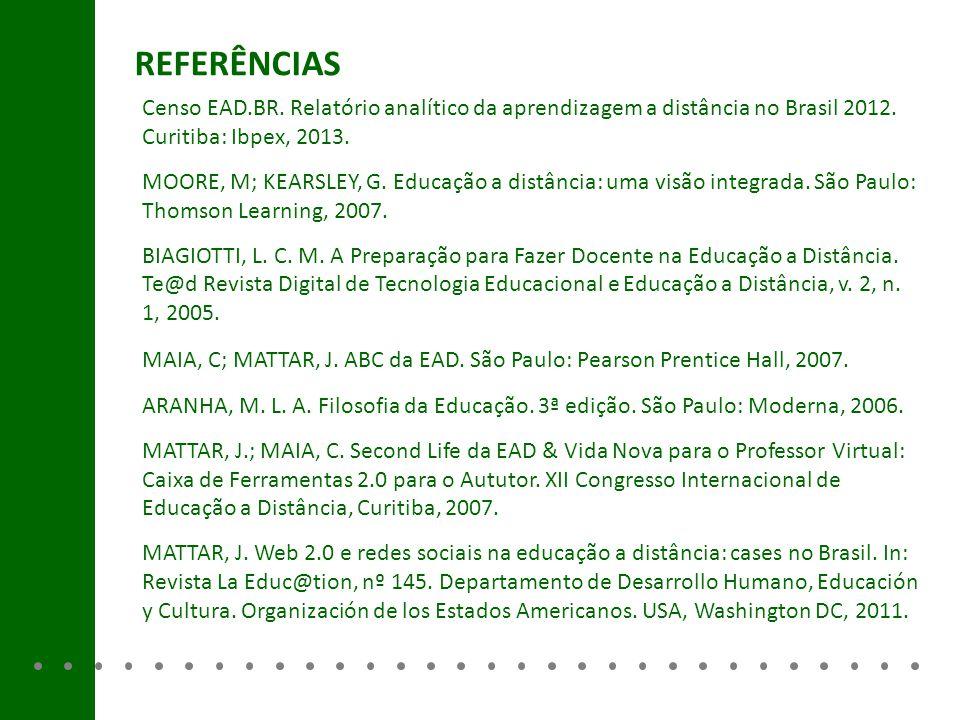 REFERÊNCIAS Censo EAD.BR. Relatório analítico da aprendizagem a distância no Brasil 2012. Curitiba: Ibpex, 2013.