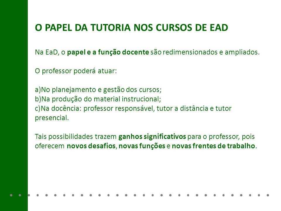 O PAPEL DA TUTORIA NOS CURSOS DE EAD
