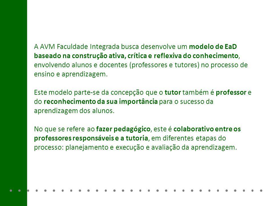 A AVM Faculdade Integrada busca desenvolve um modelo de EaD baseado na construção ativa, crítica e reflexiva do conhecimento, envolvendo alunos e docentes (professores e tutores) no processo de ensino e aprendizagem.