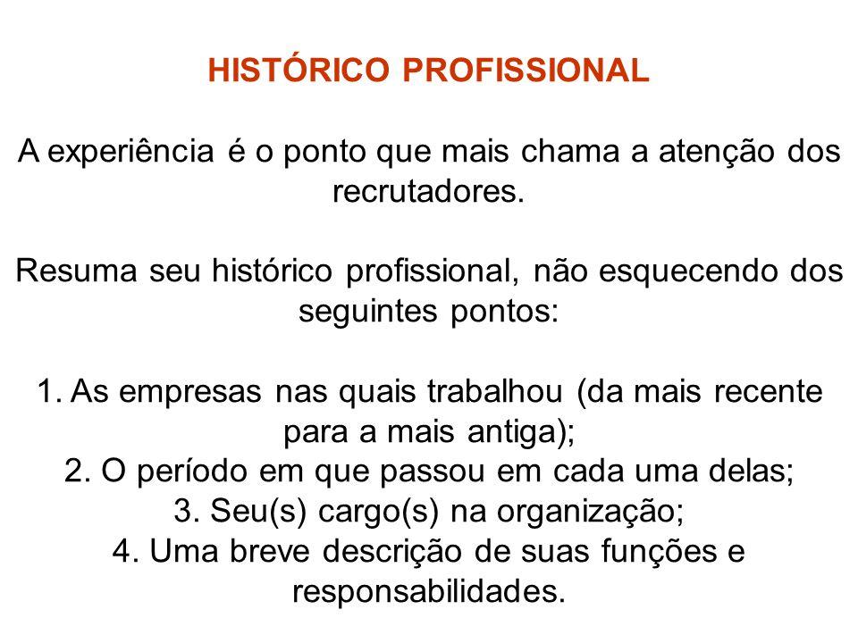 HISTÓRICO PROFISSIONAL
