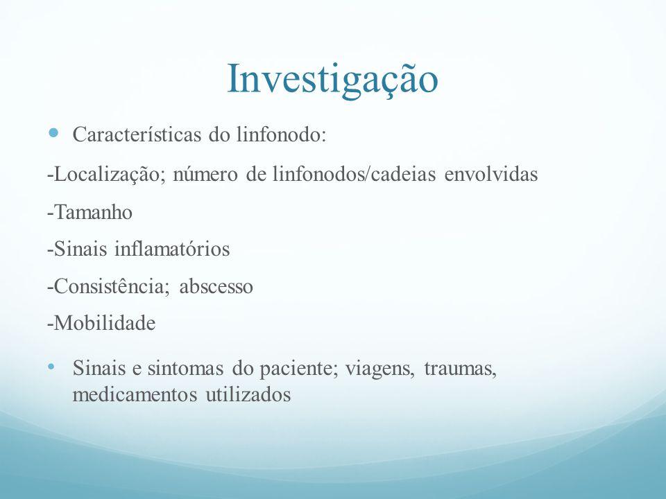 Investigação Características do linfonodo: