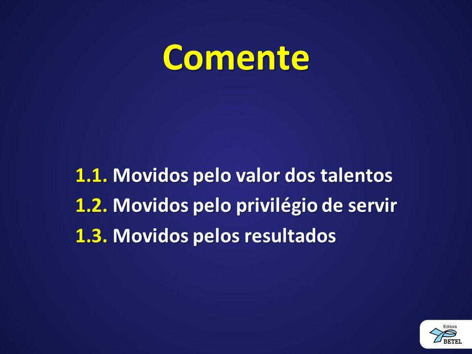 Comente 1.1. Movidos pelo valor dos talentos